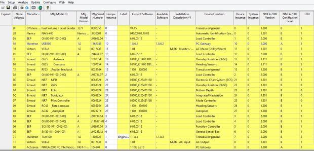 Maretron N2K Analyser om het NMEA2000 netwerk uit te lezen